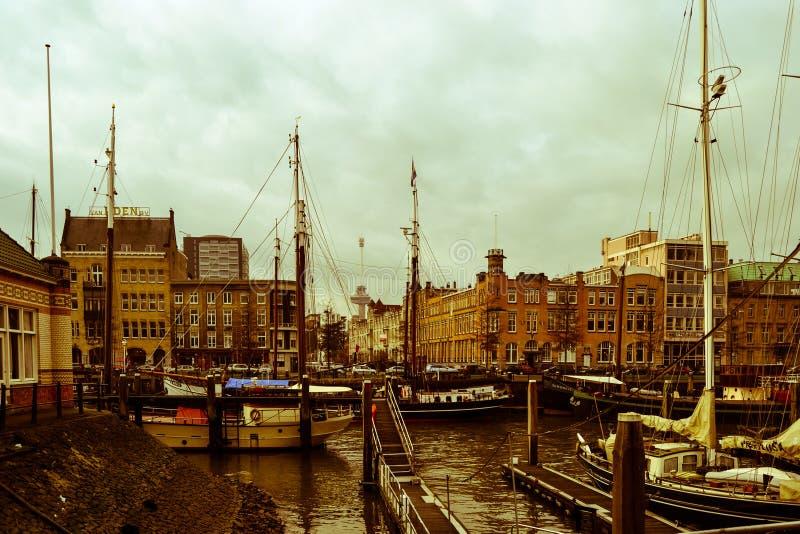 Canal do rio de Rotterdam, Holland Netherlands fotografia de stock royalty free