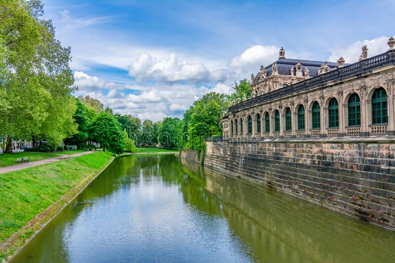 Canal at Dresdner Zwinger in Dresden, Germany royalty free stock photo