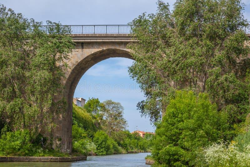 Canal du Midi con el puente imágenes de archivo libres de regalías