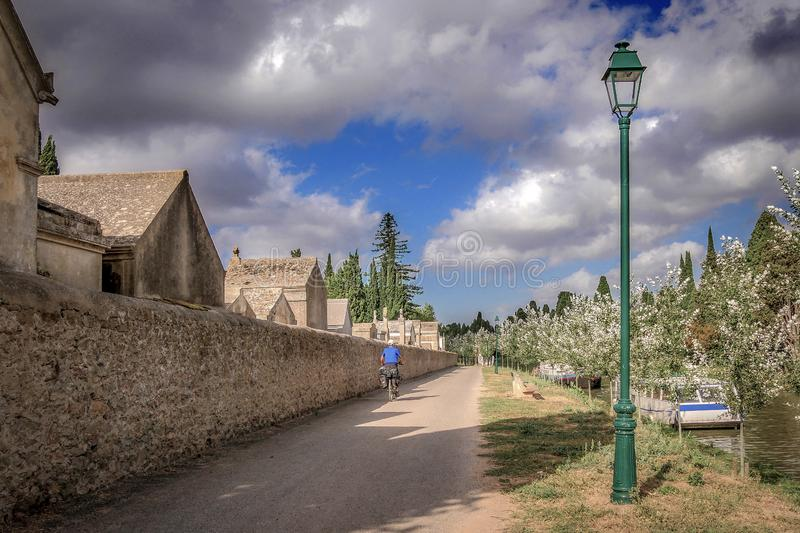 Canal du Midi Man on a bike stock images