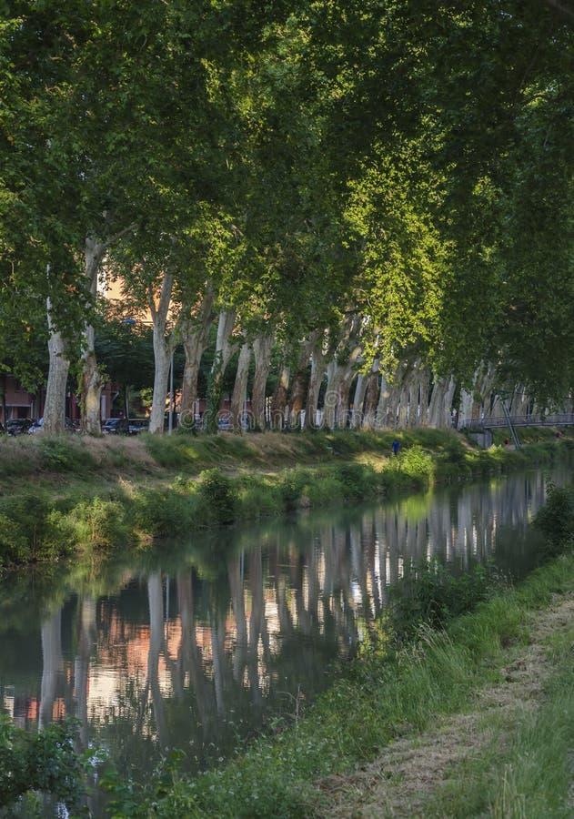 Canal du Midi Toulouse fotografering för bildbyråer