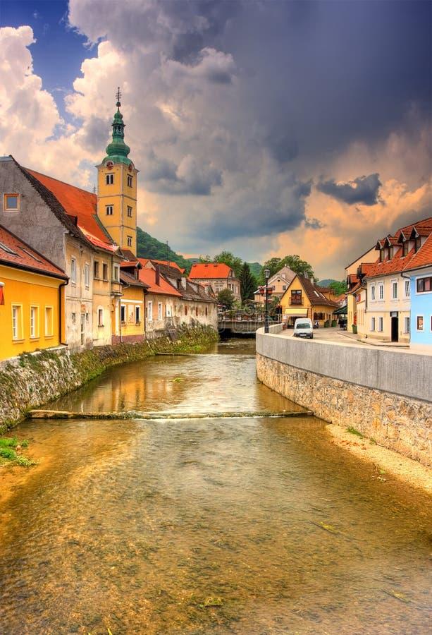 Canal em Samobor, Croatia fotos de stock royalty free