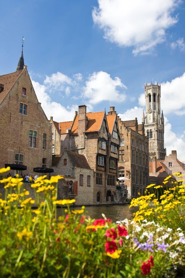 Canal en Brujas, Bélgica fotografía de archivo libre de regalías