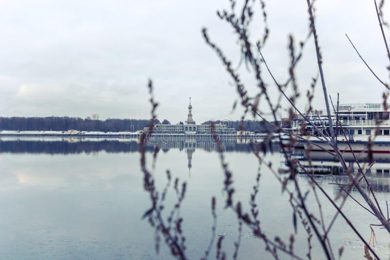 Canal en invierno, Rusia, Mosc? de Mosc? foto de archivo libre de regalías