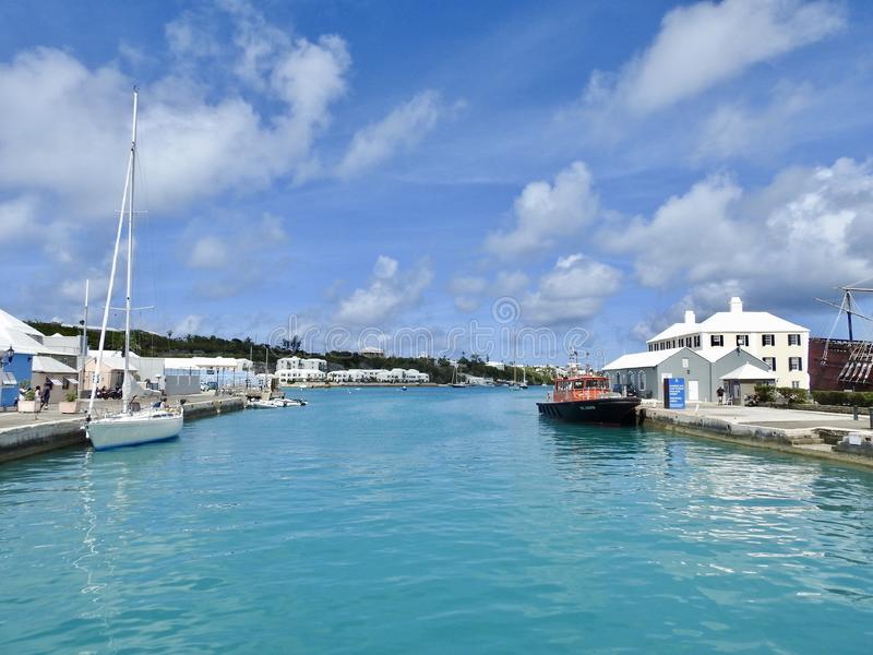 Canal en San Jorge y x27; s, Bermudas imagenes de archivo