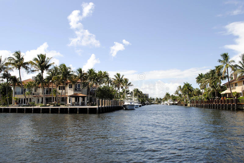 Canal in Fort Lauderdale royalty free stock image