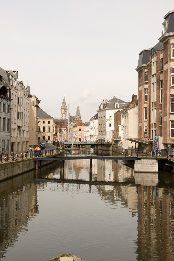 Canal in Gent, Belgium. A view of the city of Ghent (Gent) in Belgium, taken where a canal runs through the city centre stock photos