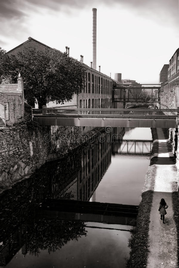 Canal in Georgetown Neighborhood in Washington DC royalty free stock photos