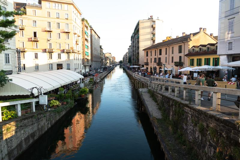 Canal grand de Naviglio, Milan, Italie photographie stock