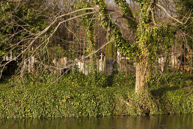 Canal grand des syndicats et le cimetière à la hausse de Kensal photos stock