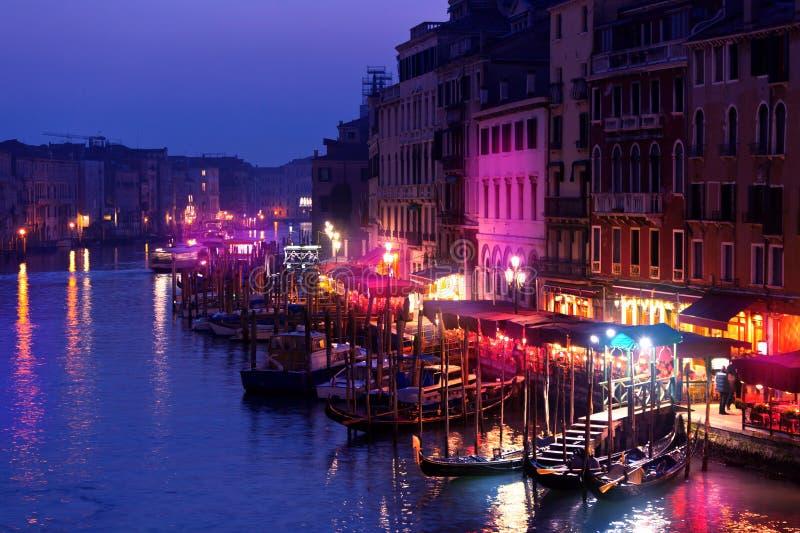 Canal grand la nuit, Venise photo libre de droits