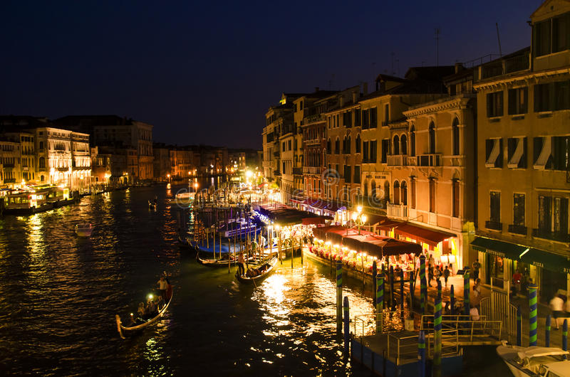 Canal grande em a noite, Veneza fotografia de stock royalty free