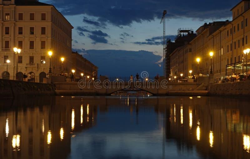 Canal grande en Trieste, Italia fotos de archivo libres de regalías