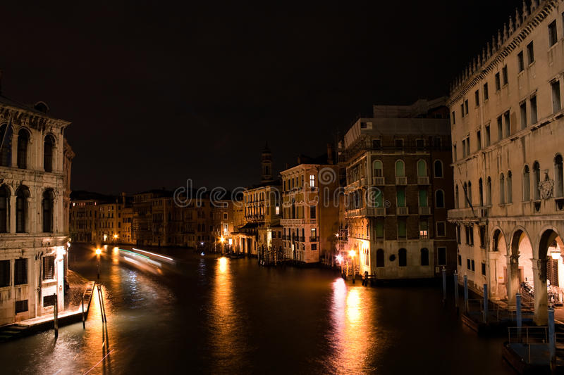 Canal Grande by night stock image
