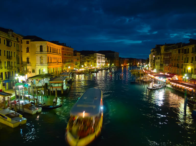 Canal Grande At Night Royalty Free Stock Images
