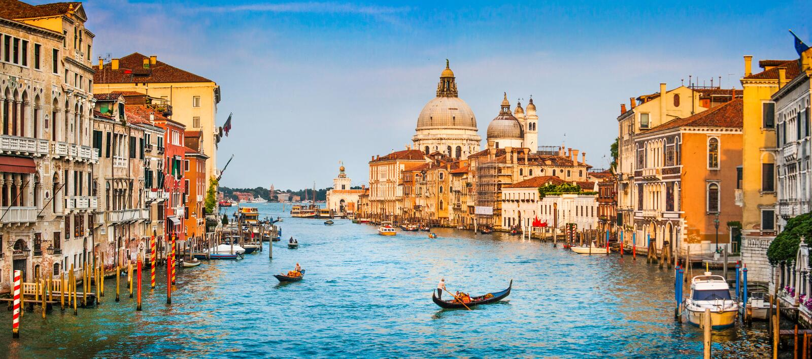 Canal Grande panorama at sunset, Venice, Italy stock photo