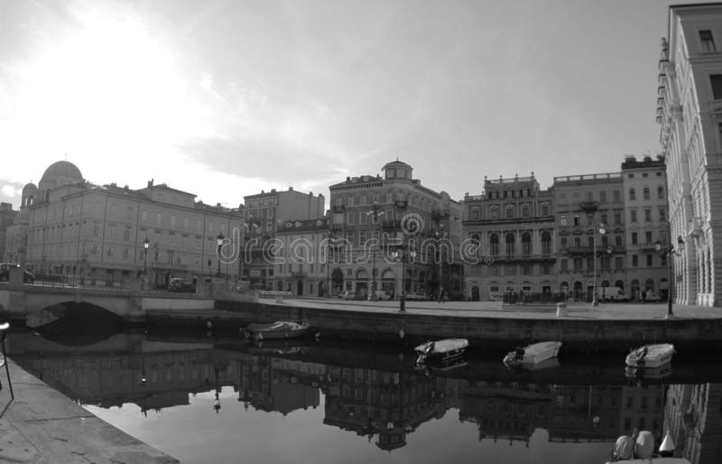 Canal grande and Port in the city, Trieste, Italia 2019.Black and white photo. stock images