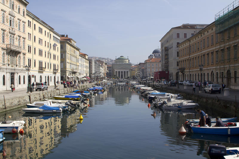 Canal Grande In Trieste With Saint Anthony Church Editorial Image