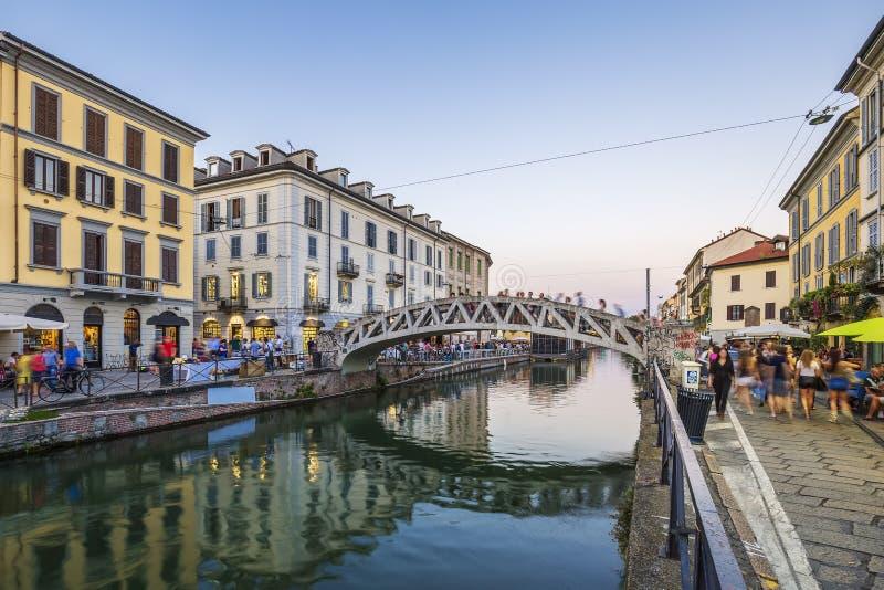 Canal grandioso de Naviglio fotos de stock royalty free