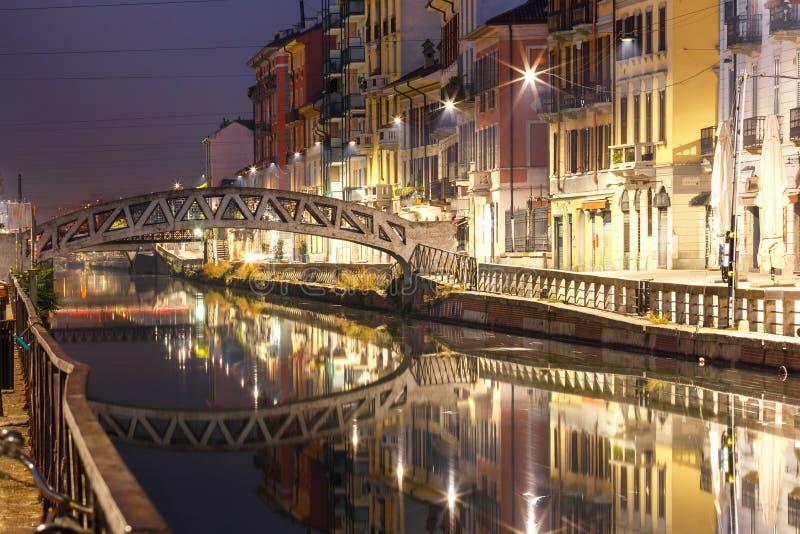 Canal grandioso de Naviglio em Milão, Lombardia, Itália imagem de stock royalty free