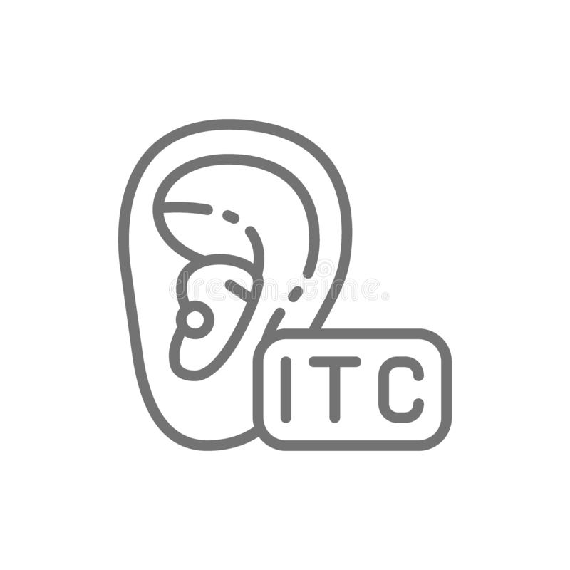 In The Canal Hearing Aid, ITC line icon. vector illustration