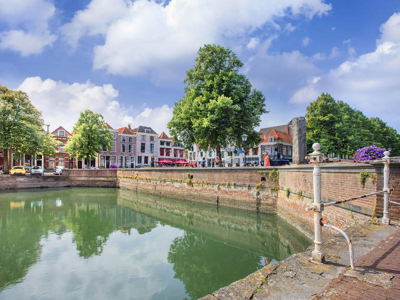 Canal in historic city center of Zierikzee, Netherlands stock photography