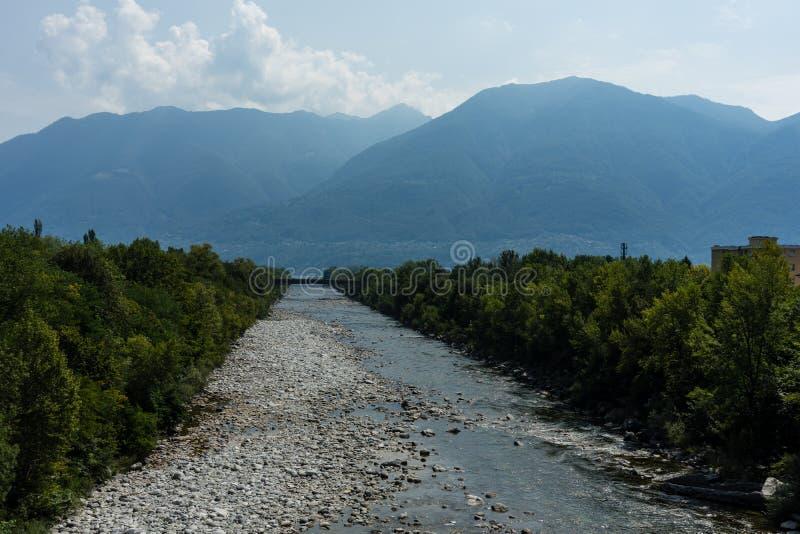 Canal lateral ao maggiore do lago no ascona com pedras da água e nas árvores com fundo da montanha fotos de stock