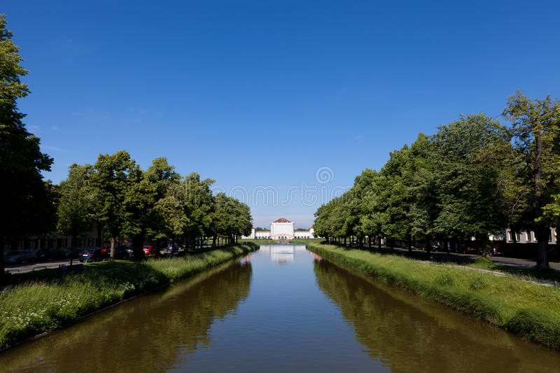 Canal In Between Lines Of Trees Royalty Free Stock Photography