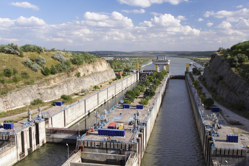 Canal lock. At Cernavoda city, located on the channel between Danube and the Black Sea royalty free stock image