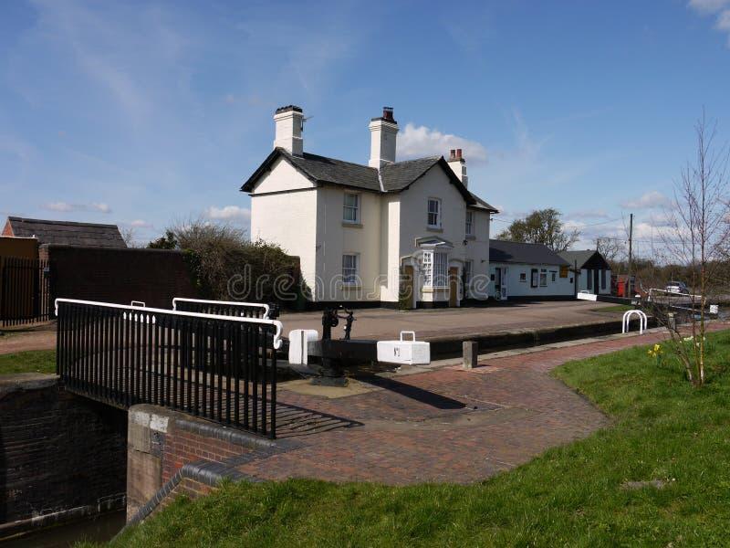Canal lock keepers houses Aldridge, UK royalty free stock photo