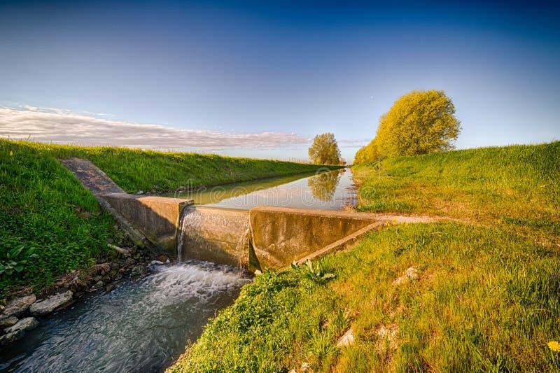 Canal moderne d'irrigation photographie stock libre de droits