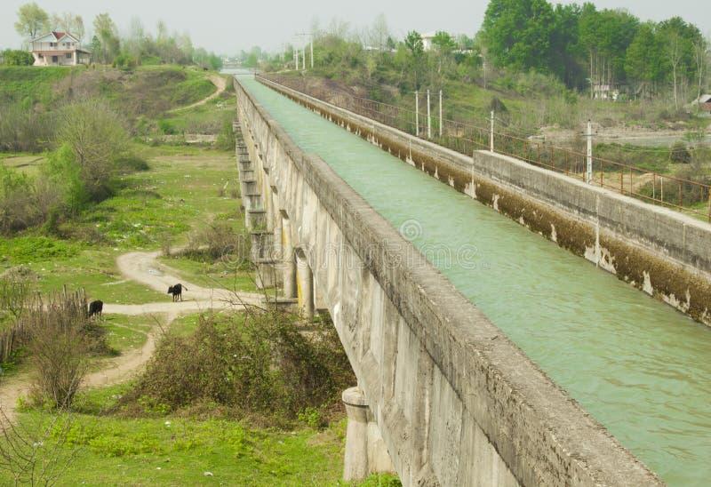 Canal moderne de l'eau dans le nord de l'Iran image stock
