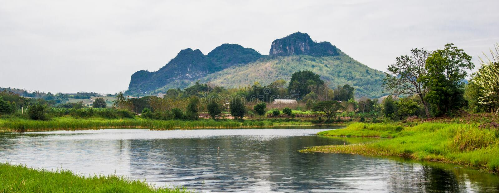 Canal Nature Reserve. Mountain background stock image
