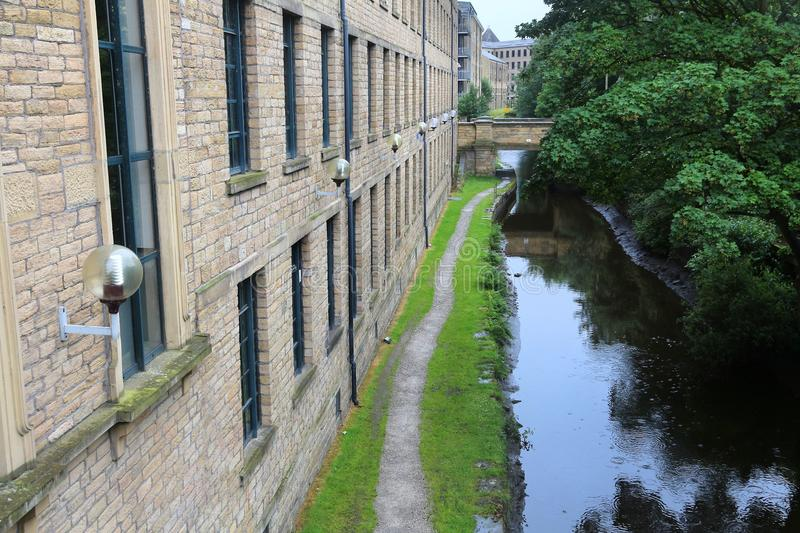 Huddersfield canal. Canal next to University of Huddersfield in West Yorkshire, UK stock images