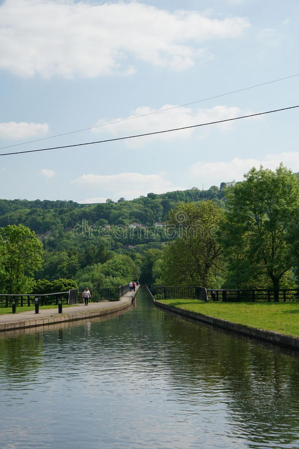 Canal no aqueduto Llangollen Gales Reino Unido de Pontcysyllte fotos de stock royalty free