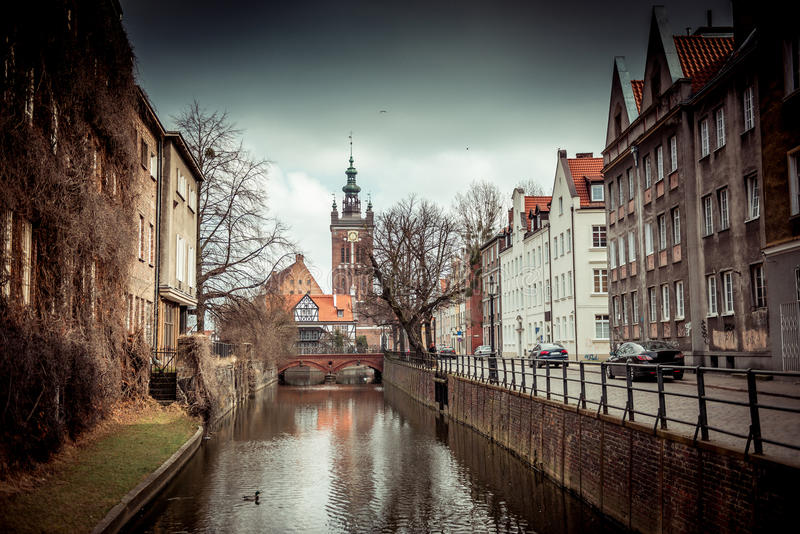 Canal in the old town of Gdansk, Poland. Canal and old historic buildings in the old town of Gdansk, Poland stock photography