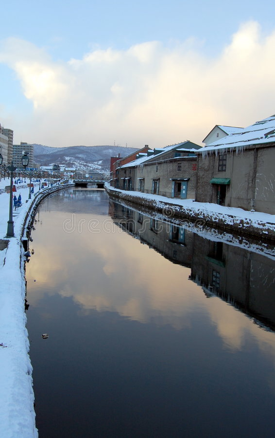 Canal in Otaru city stock image