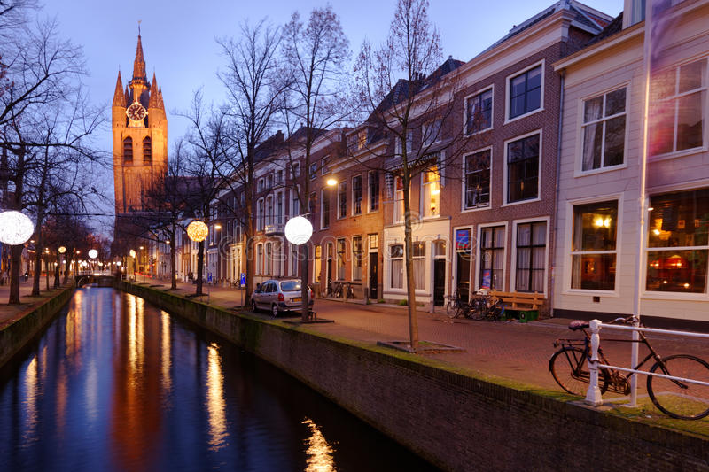 Canal and Oude Kerk in Delft, Neterhlands stock photos
