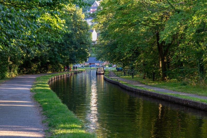 Canal perto do aqueduto de Pontcysyllte, Wrexham, Gales, Reino Unido fotos de stock