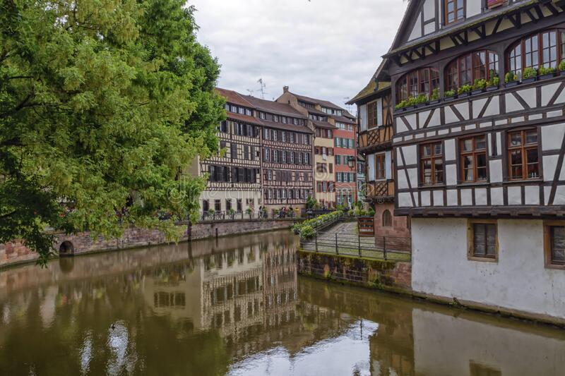 Canal in Petite France, Strasbourg stock photo