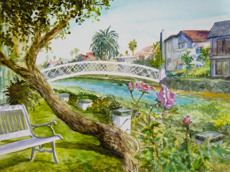 Canal Roses. Pink roses bloom alongside a bench by a canal in Venice, CA, in a watercolor painting royalty free illustration