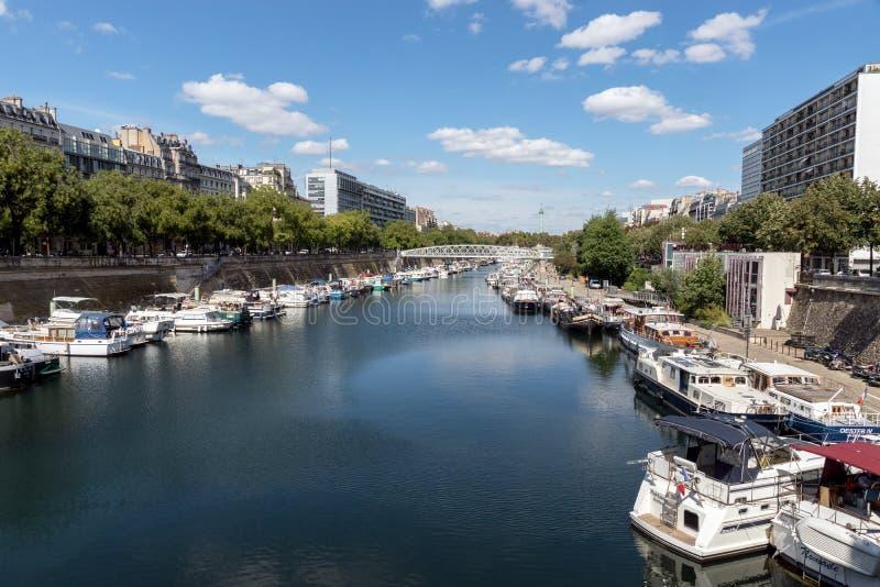 Canal St Martin - Paris imagem de stock