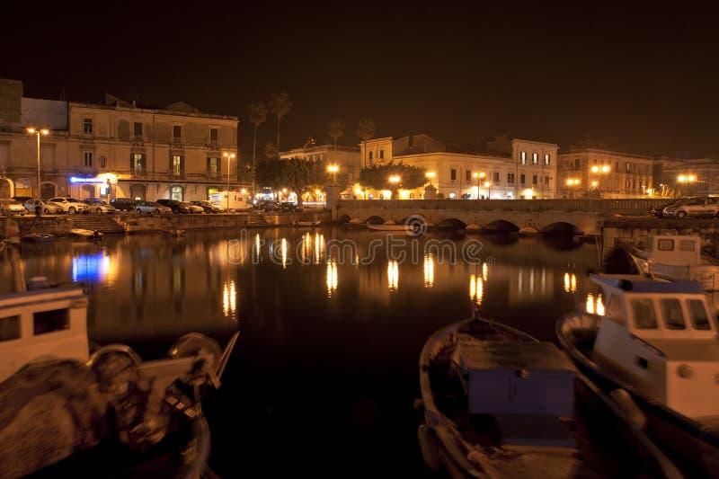 Canal of Syracusa (Syracuse) at night- Sicily. Italy royalty free stock image