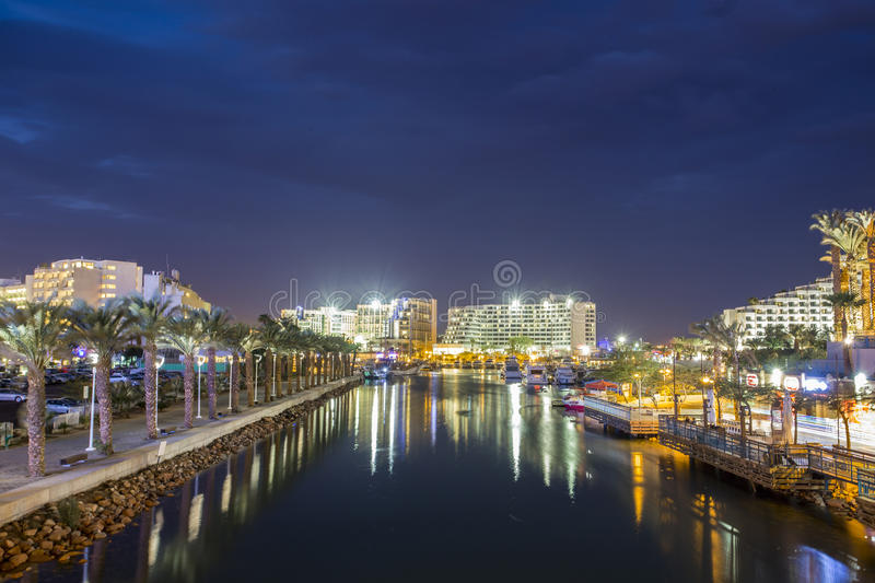 Canal to harbor in Eilat, Israel stock images