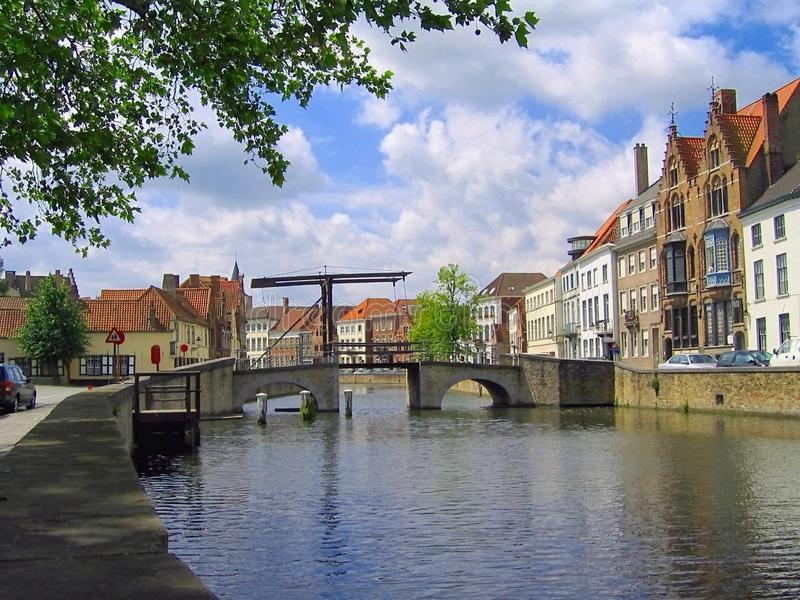 Canal and traditional Bridge, Bruges, Flanders, Belgium stock photo