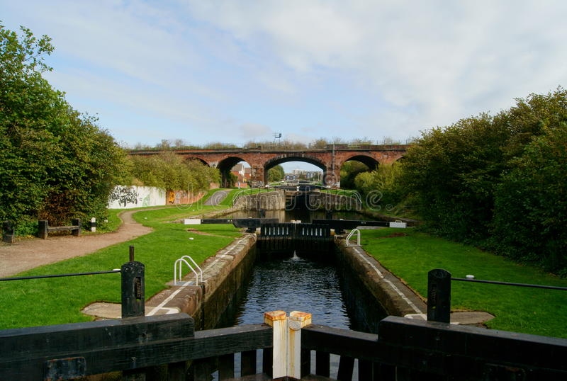 Canal urbano imagens de stock