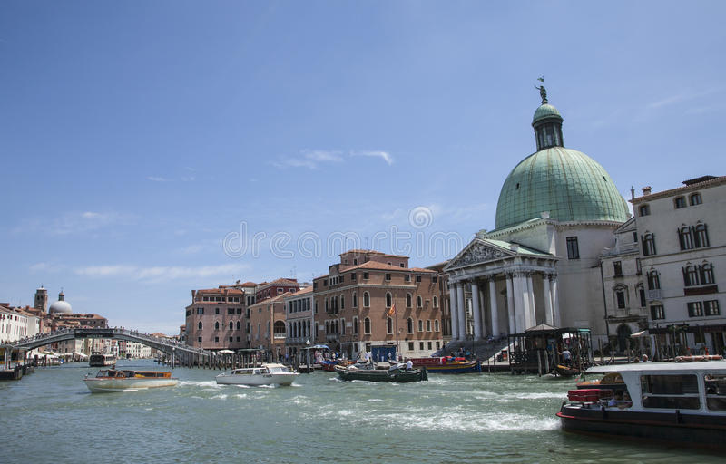 Canal, Venice, Italy - the boats. stock image