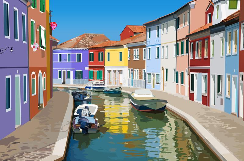 Canal in Venice. Small canal in Venice Italy. Multicolored traditional buildings vector illustration
