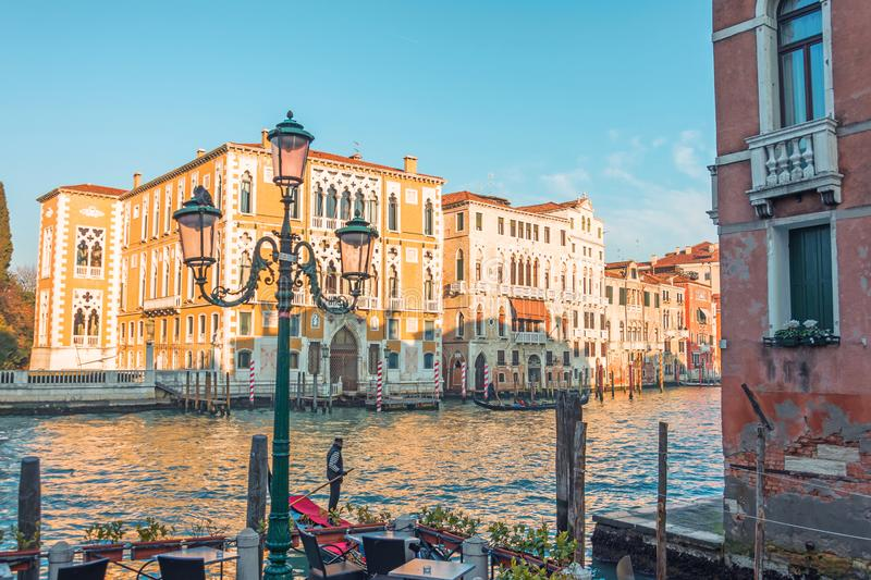 Canal in Venice, view of the architecture and buildings. Typical urban view royalty free stock images