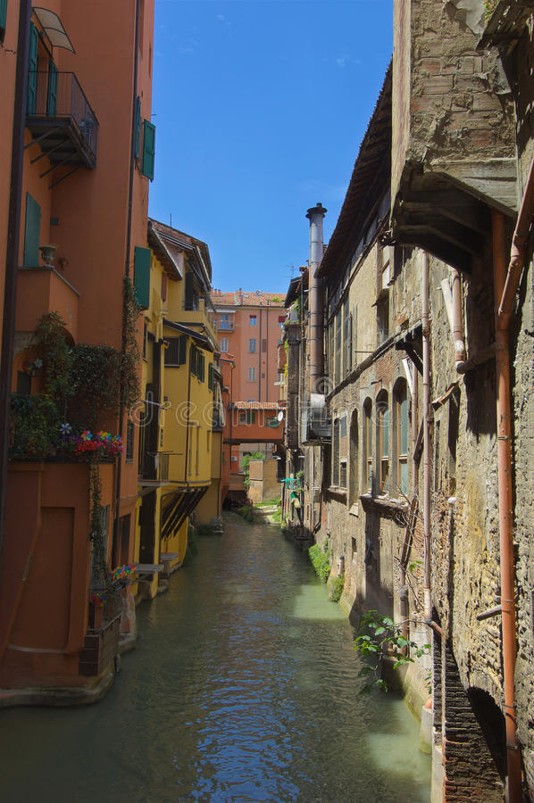 Canal in Via Pella Bologna. Looking at the Canal in Via Pella Bologna also known as Little Venice royalty free stock image